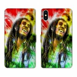 RV Housse cuir portefeuille Iphone XS Bob Marley