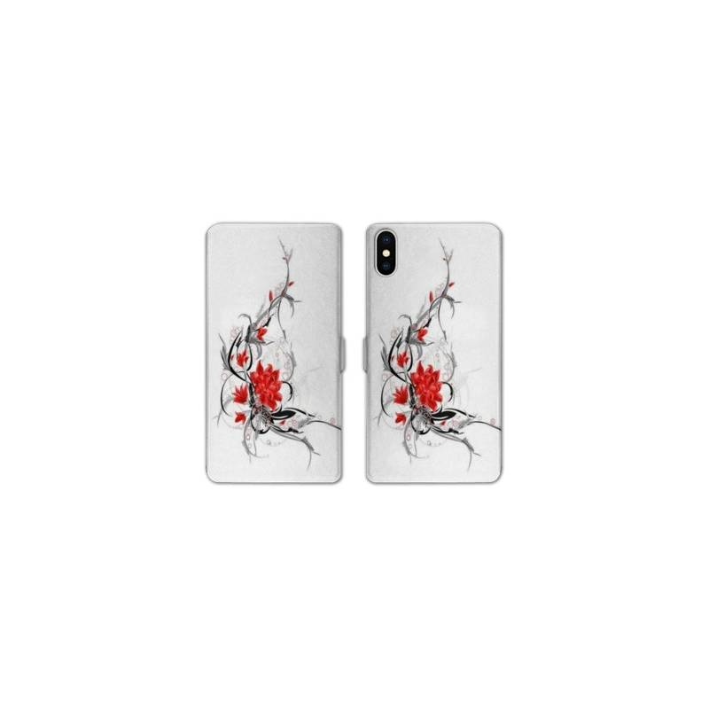 RV Housse cuir portefeuille Iphone XR fleurs