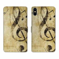 RV Housse cuir portefeuille Iphone XS Musique