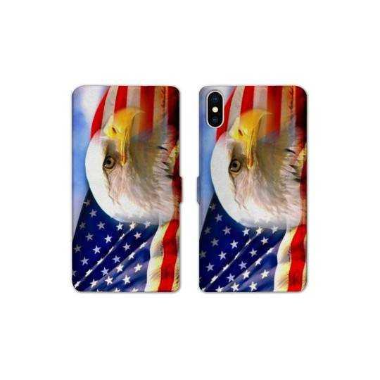 RV Housse cuir portefeuille Iphone XR Amerique