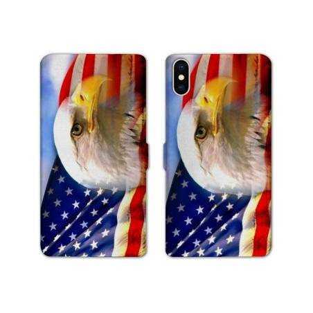 RV Housse cuir portefeuille Iphone XS Amerique