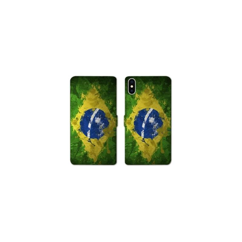 RV Housse cuir portefeuille Iphone XR Bresil