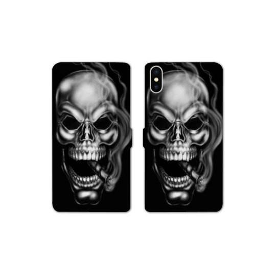 RV Housse cuir portefeuille Iphone XR tete de mort