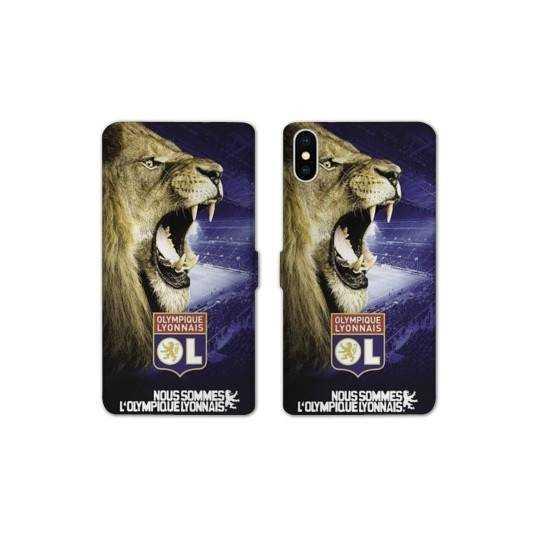 RV Housse cuir portefeuille Iphone XS Max License Olympique Lyonnais OL - Rage de vaincre