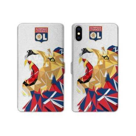 RV Housse cuir portefeuille Iphone XS Max License Olympique Lyonnais OL - lion color