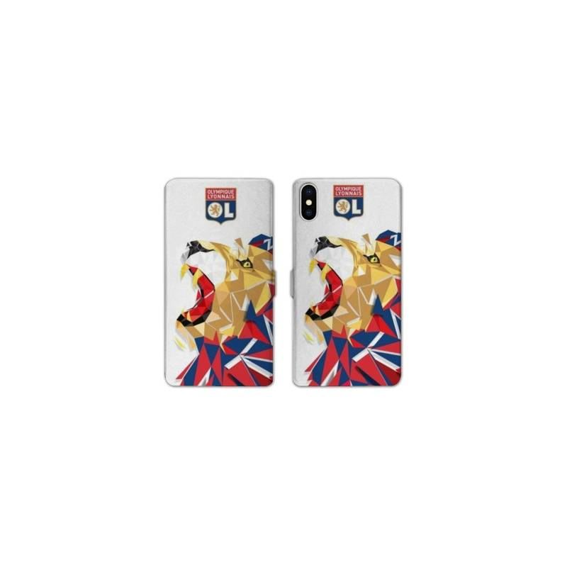RV Housse cuir portefeuille Iphone XS Max License Olympique Lyonnais OL - lion color