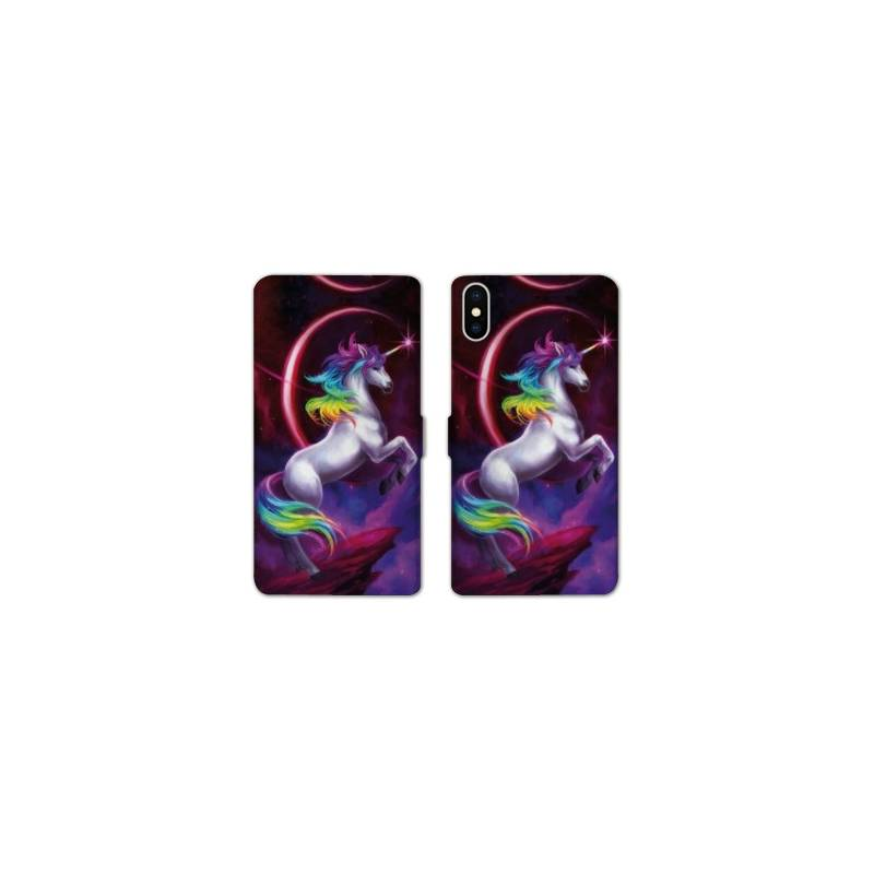 RV Housse cuir portefeuille pour iphone XS Max Licorne