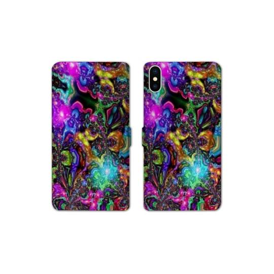 RV Housse cuir portefeuille pour iphone XS Max Psychedelic