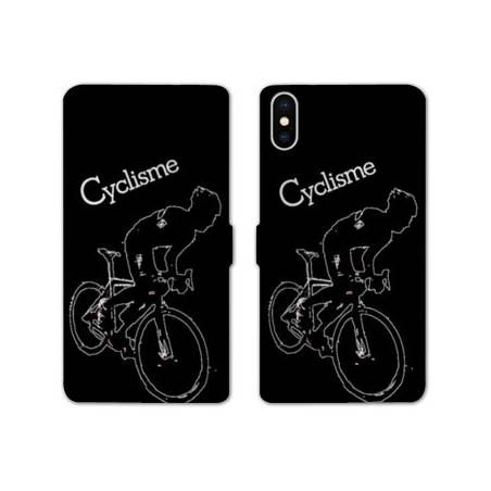 RV Housse cuir portefeuille Iphone XS Max Cyclisme