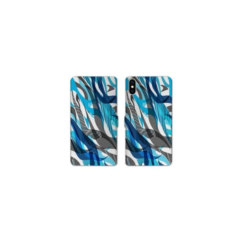 RV Housse cuir portefeuille Iphone XS Max Etnic abstrait
