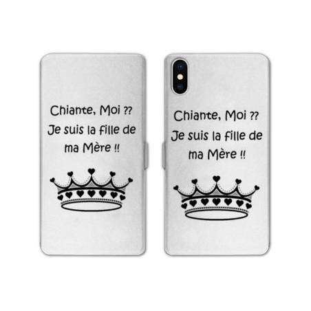 RV Housse cuir portefeuille Iphone XS Max Humour