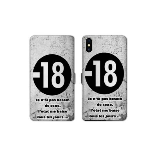RV Housse cuir portefeuille pour iphone XS Max Humour