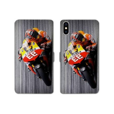RV Housse cuir portefeuille Iphone XS Max Moto