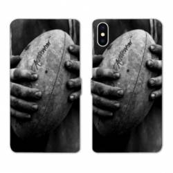 RV Housse cuir portefeuille Iphone XS Max Rugby