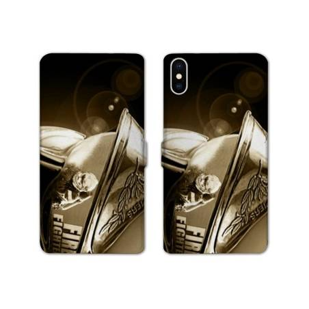 RV Housse cuir portefeuille Iphone XS Max pompier police