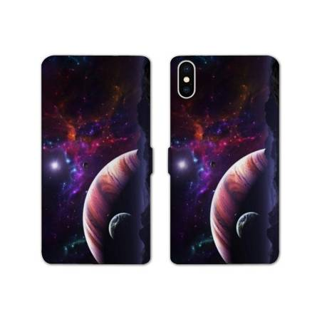 RV Housse cuir portefeuille Iphone XS Max Espace Univers Galaxie