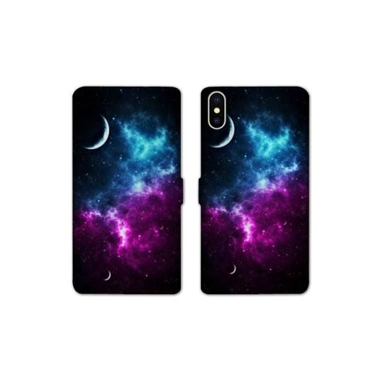 RV Housse cuir portefeuille pour iphone XS Max Espace Univers Galaxie