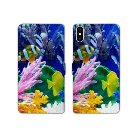 RV Housse cuir portefeuille Iphone XS Max Mer