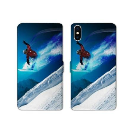 RV Housse cuir portefeuille Iphone XS Max Sport Glisse