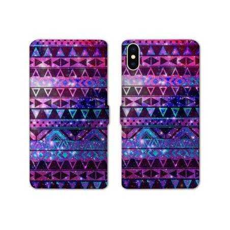 RV Housse cuir portefeuille Iphone XS Max motifs Aztec azteque