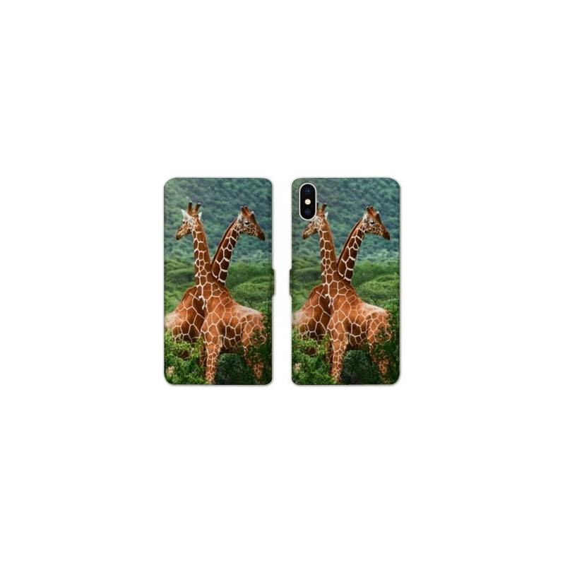 RV Housse cuir portefeuille Iphone XS Max savane