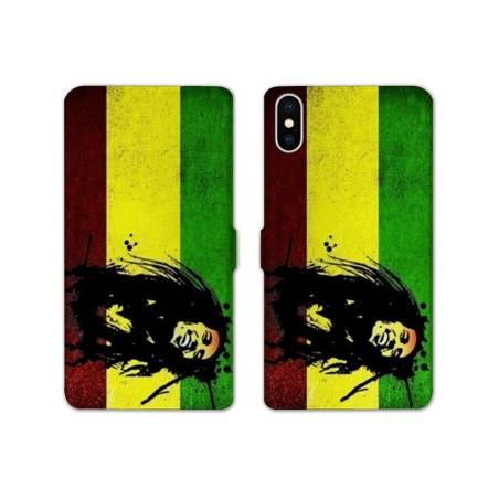 RV Housse cuir portefeuille Iphone XS Max Bob Marley