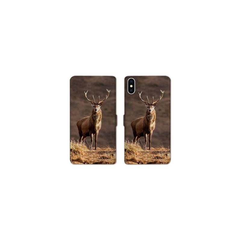 RV Housse cuir portefeuille pour iphone XS Max chasse peche