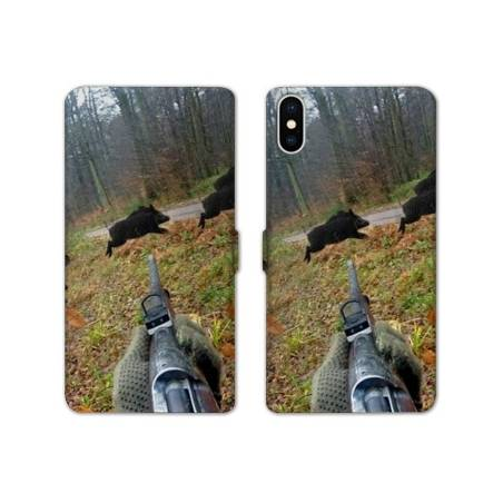 RV Housse cuir portefeuille Iphone XS Max chasse peche