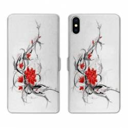 RV Housse cuir portefeuille Iphone XS Max fleurs