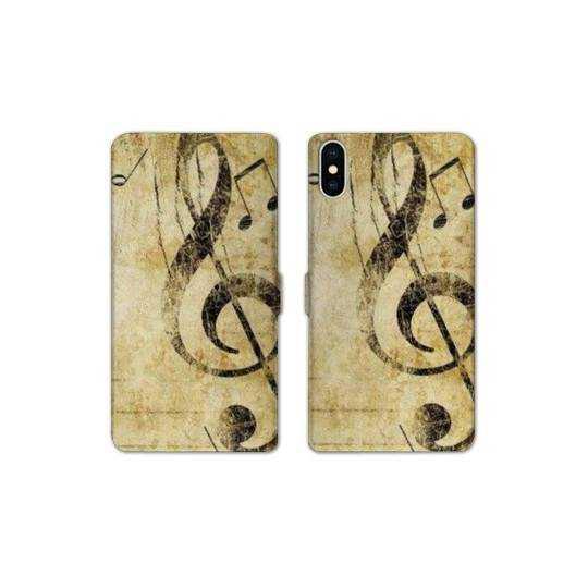 RV Housse cuir portefeuille Iphone XS Max Musique