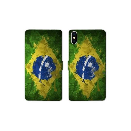 RV Housse cuir portefeuille Iphone XS Max Bresil