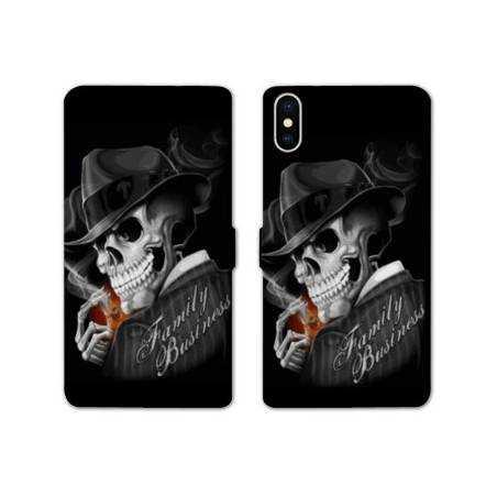 RV Housse cuir portefeuille Iphone XS Max tete de mort