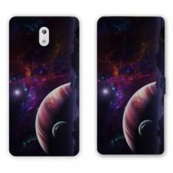 Housse cuir portefeuille Nokia 2.1 (2018) Espace Univers Galaxie