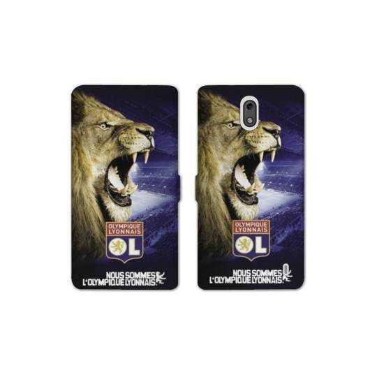 Housse cuir portefeuille Nokia 2.1 (2018) Licence Olympique Lyonnais - Rage de vaincre