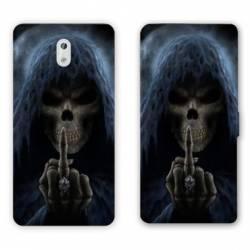Housse cuir portefeuille Nokia 3.1 (2018) tete de mort