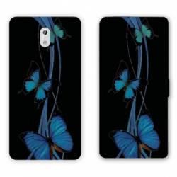 Housse cuir portefeuille Nokia 3.1 (2018) papillons