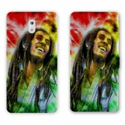Housse cuir portefeuille Nokia 3.1 (2018) Bob Marley