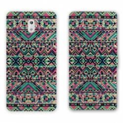 Housse cuir portefeuille Nokia 3.1 (2018) motifs Aztec azteque