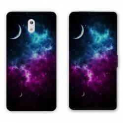 Housse cuir portefeuille Nokia 3.1 (2018) Espace Univers Galaxie