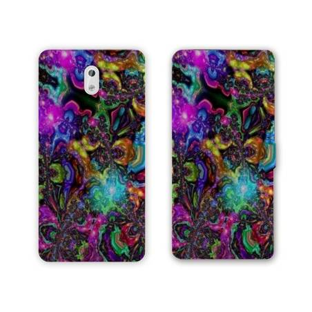 Housse cuir portefeuille Nokia 3.1 (2018) Psychedelic