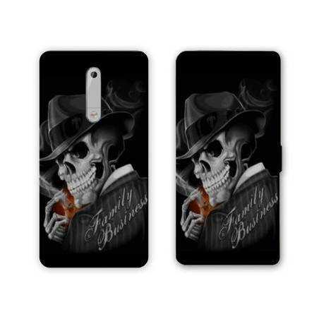 Housse cuir portefeuille Nokia 5.1 (2018) tete de mort