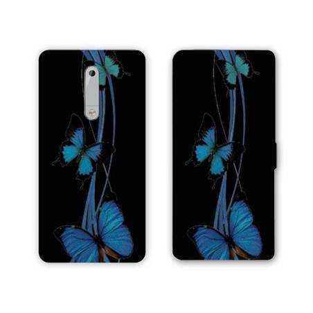 Housse cuir portefeuille Nokia 5.1 (2018) papillons