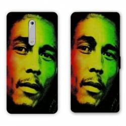 Housse cuir portefeuille Nokia 5.1 (2018) Bob Marley