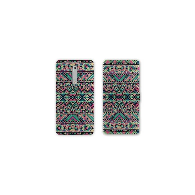 Housse cuir portefeuille Nokia 5.1 (2018) motifs Aztec azteque