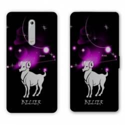 Housse cuir portefeuille Nokia 5.1 (2018) signe zodiaque