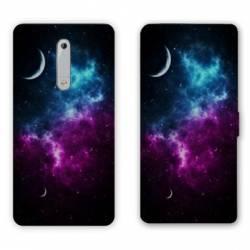 Housse cuir portefeuille Nokia 5.1 (2018) Espace Univers Galaxie