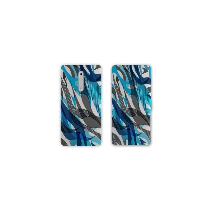 Housse cuir portefeuille Nokia 5.1 (2018) Etnic abstrait