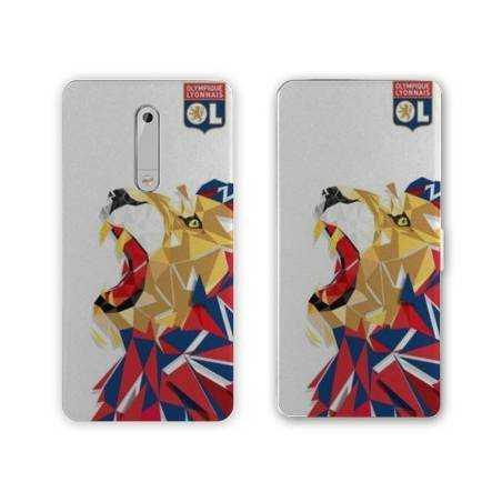 Housse cuir portefeuille Nokia 5.1 (2018) License Olympique Lyonnais OL - lion color