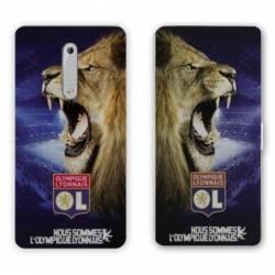 Housse cuir portefeuille Nokia 5.1 (2018) Licence Olympique Lyonnais - Rage de vaincre