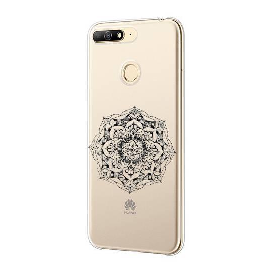 Coque transparente Huawei Y6 (2018) / Honor 7A mandala noir